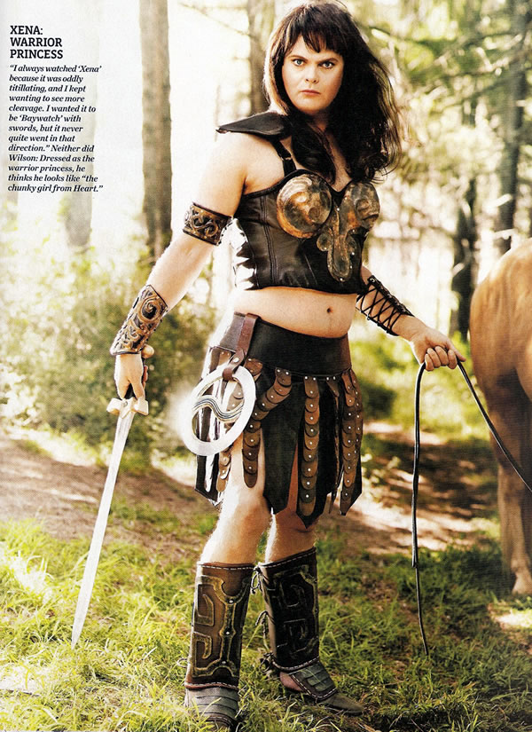 "Rainn ""Dwight K. Schrute\"" Wilson, dressed up as \""Xena, Warrior Princess\""."