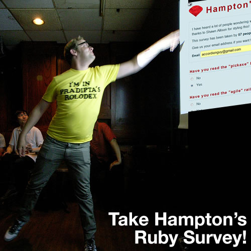 """Take Hampton\'s Ruby Survey\"": Hampton Catlin pointing at his survey, projected on a screen"