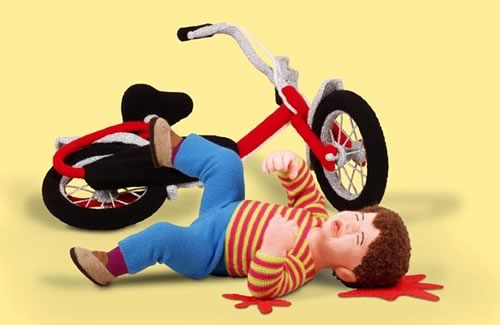 """Bicycle accident"" clay figurine."